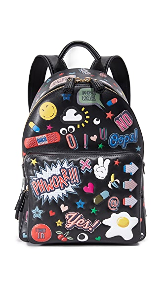 Anya Hindmarch Allover Wink Stickers Backpack - Black at Shopbop