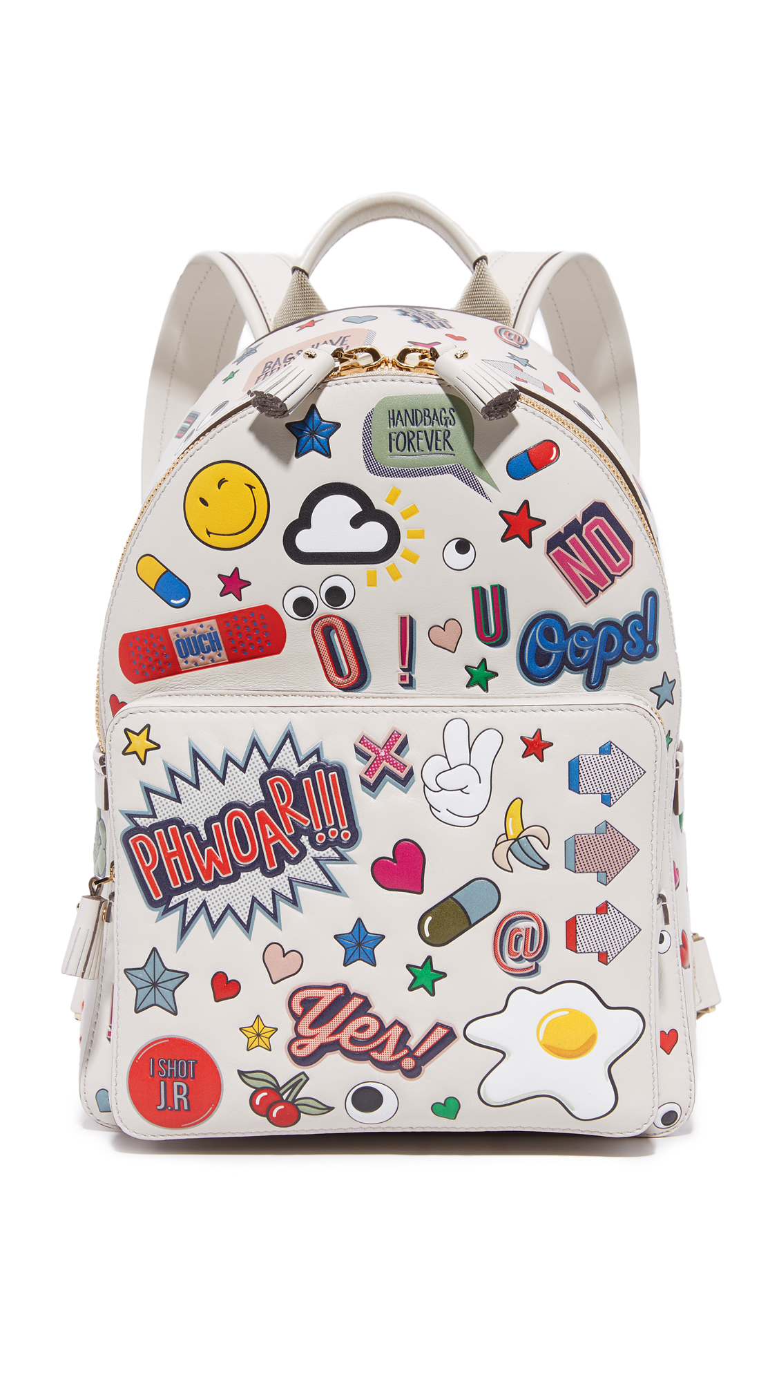 Graphics bring playful charm to this small Anya Hindmarch backpack. The zip top opens to a lined interior with a zip pocket. The zippered front pocket houses 4 card slots. Adjustable shoulder straps. Dust bag included. Leather:
