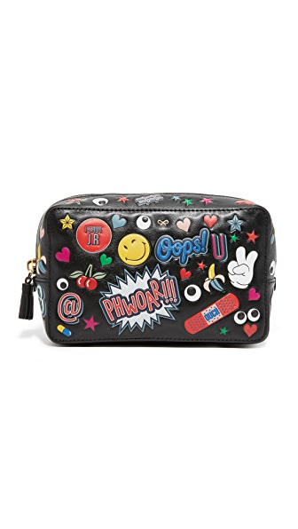 Anya Hindmarch All Over Wink Stickers Make Up Pouch - Black