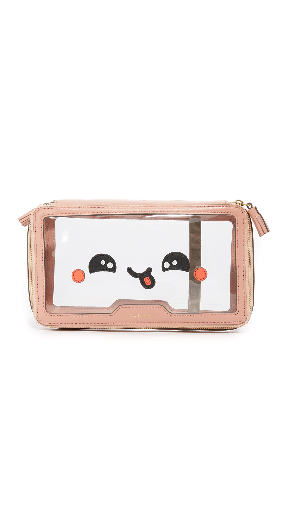 anya hindmarch female 243738 anya hindmarch inflight kawaii yum pouch clearpowder pink