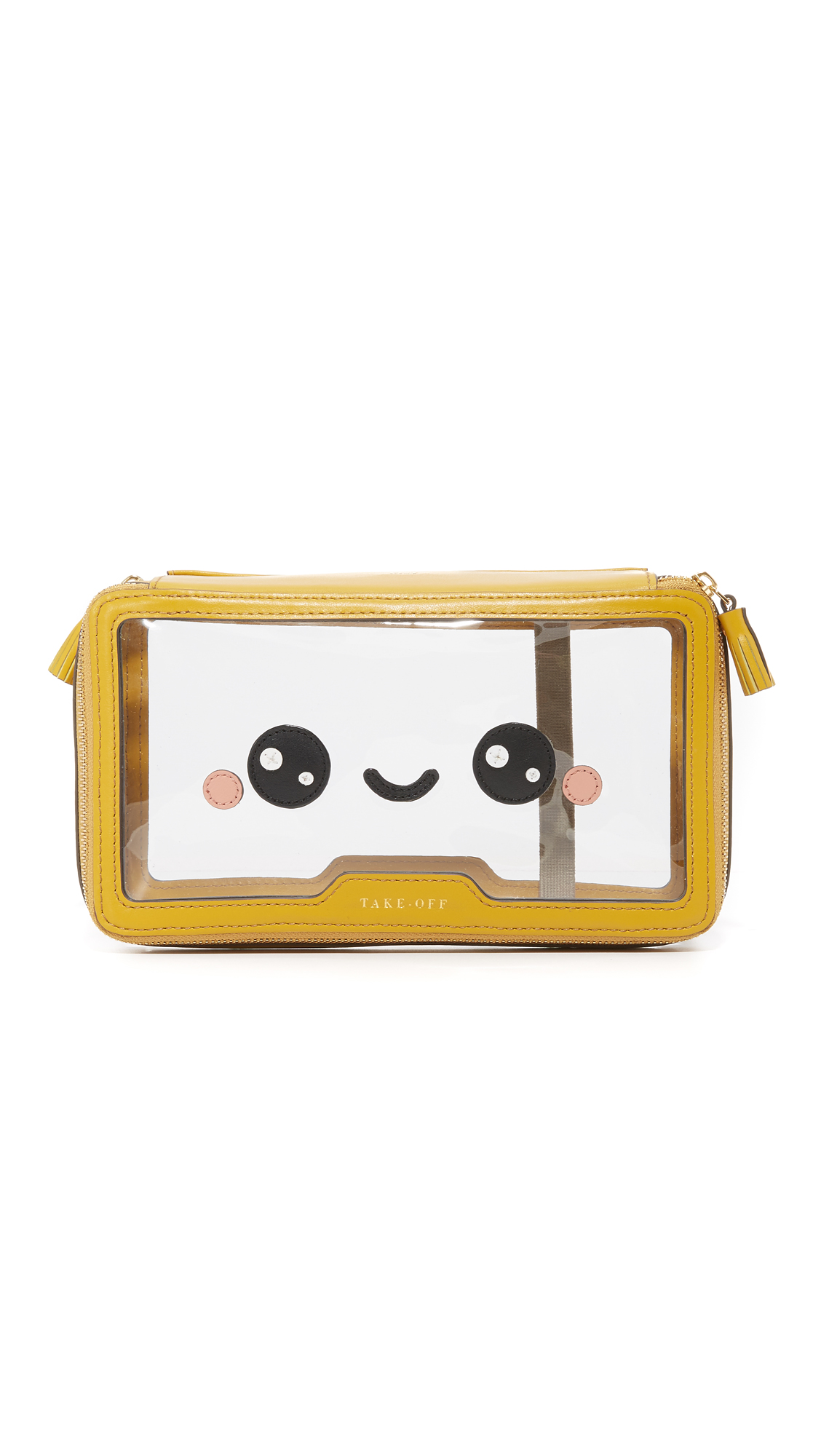 anya hindmarch female 444715 anya hindmarch inflight kawaii happy pouch clearmustard
