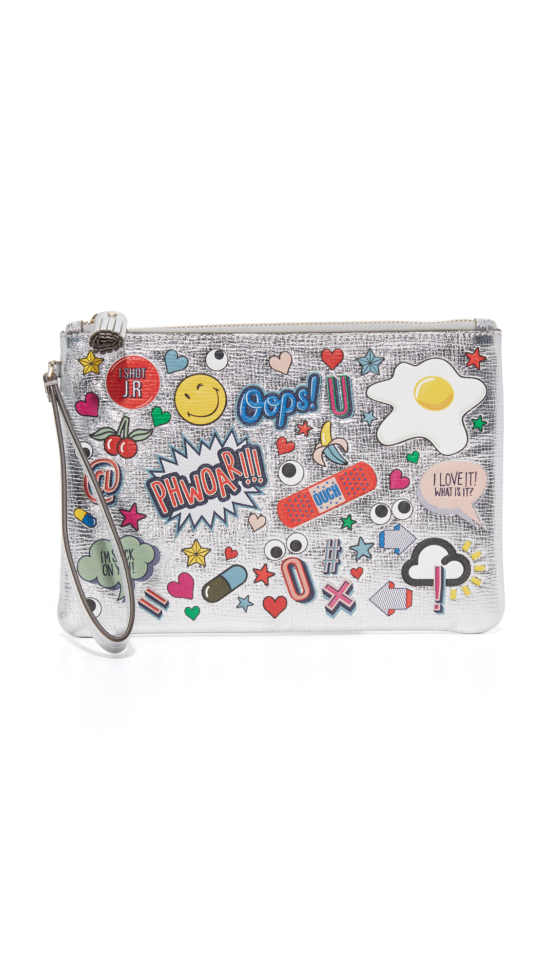 Metallic saffiano leather and an eclectic collection of graphics lend an eye catching look to this Anya Hindmarch pouch. A wrist strap hangs from the side. Top zip and suede lined interior with 2 card slots and