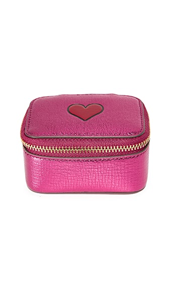 Anya Hindmarch Metallic Heart Pouch - Raspberry