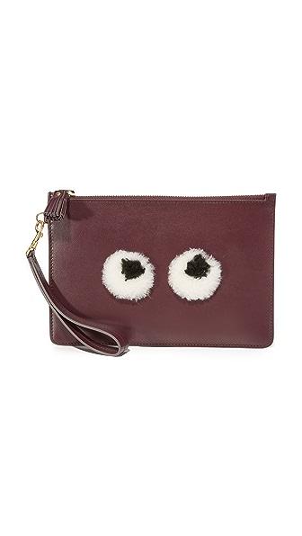 Anya Hindmarch Shearling Eyes Wristlet - Claret