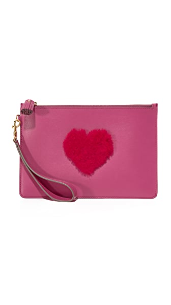 Anya Hindmarch Shearling Heart Wristlet In Magenta