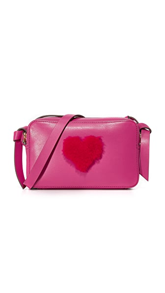Anya Hindmarch Shearling Heart Mini Cross Body Bag - Magenta