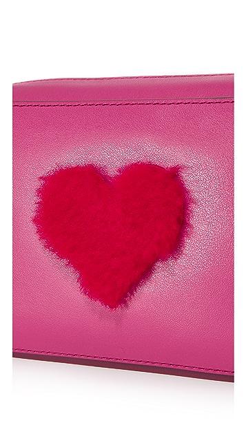 Anya Hindmarch Shearling Heart Mini Cross Body Bag