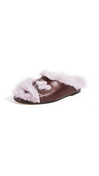 Anya Hindmarch Fuzzy Slippers In Claret