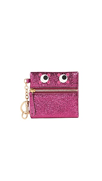 Anya Hindmarch Circulus Eyes Coin Pouch In Raspberry