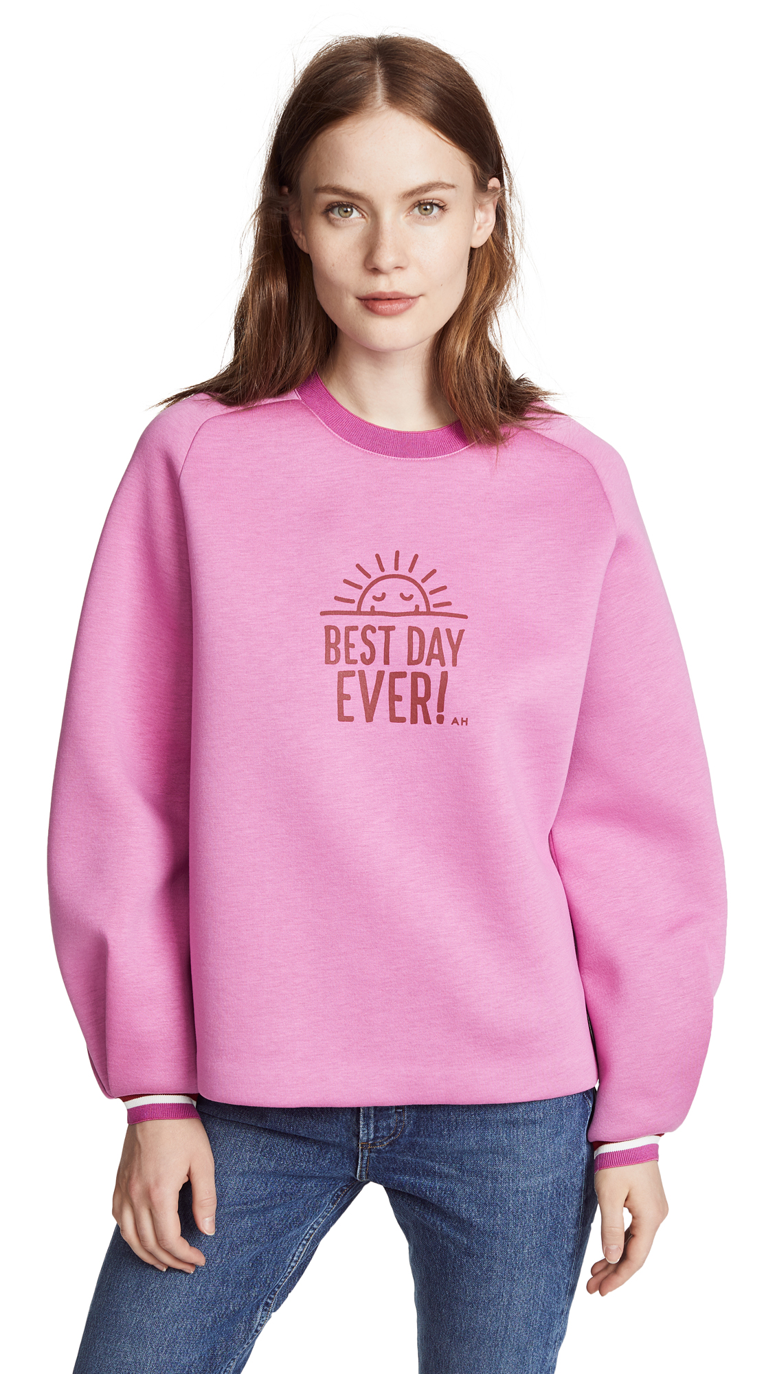 Anya Hindmarch Best Day Ever Sweatshirt In Bubblegum/Claret