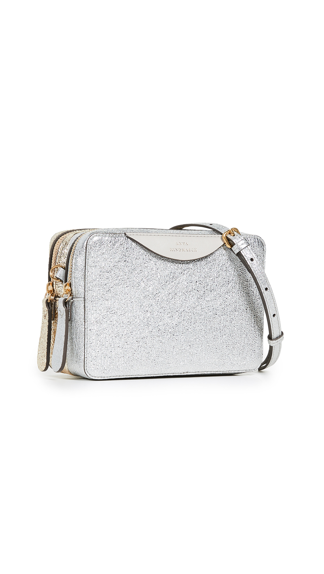 Anya Hindmarch Stack Double Wallet on Strap In Light Gold/Silver