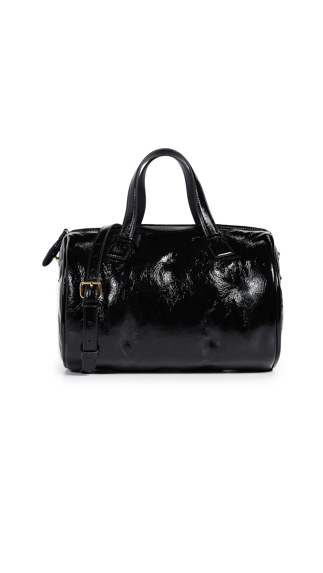 Leather: Lambskin Leather: Cowhide Tufted, patent exterior Suede interior Zip at top Zip interior pocket Removable strap Lined Dust bag included Weight: 22oz / 0.62kg Imported, China Measurements Height: 7in / 18cm Length: 7.75in / 20cm Depth: 6in / 15cm Strap drop: 24in / 61cm Handle drop: 4in / 10cm
