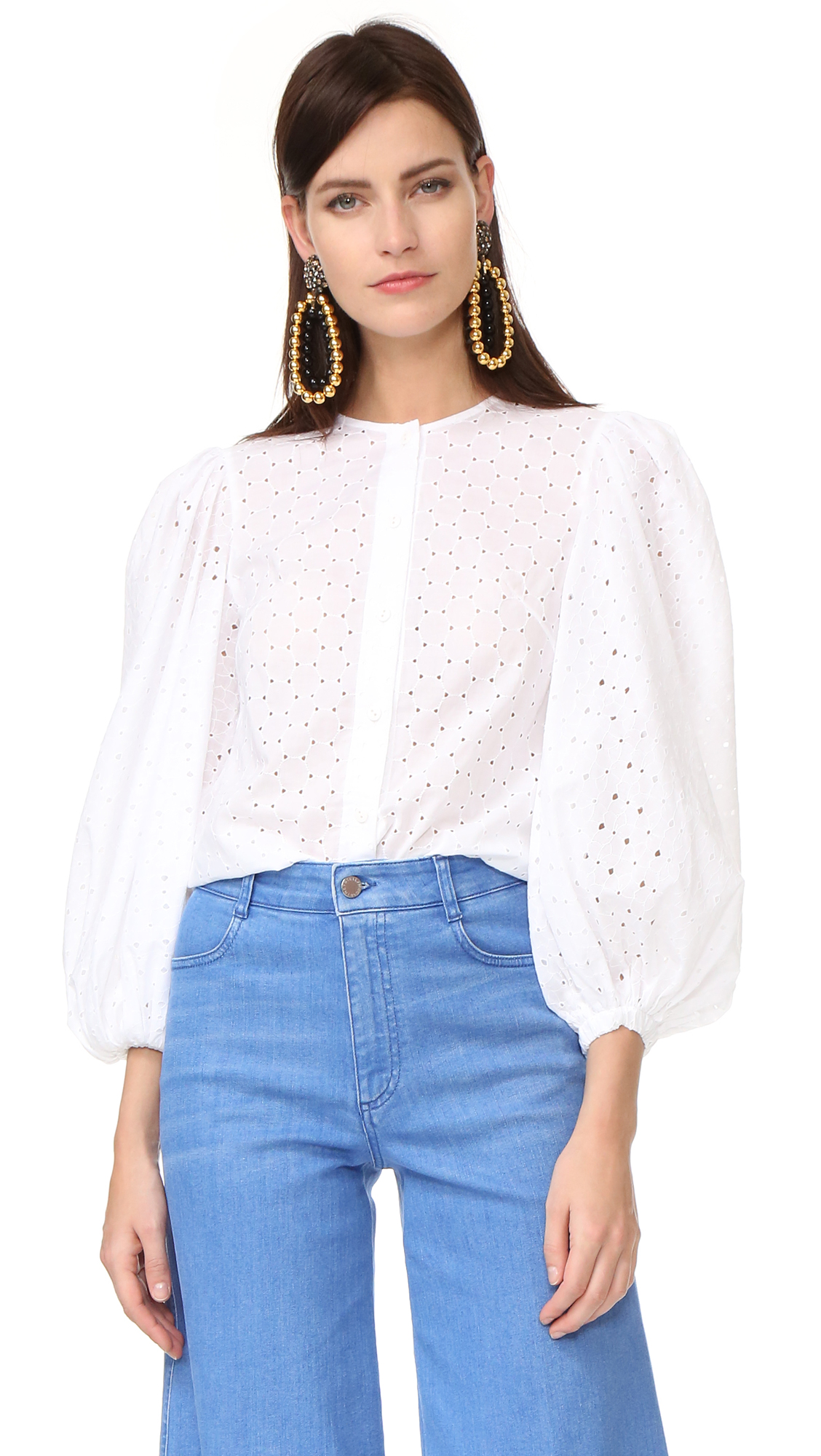 Anna October Perforated Blouse - White