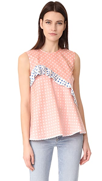 Anna October Sleeveless Polka Dot Top In Pink/White/Dark Blue