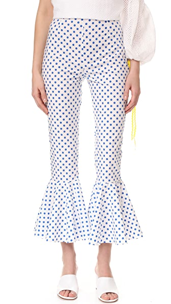 Anna October Polka Dot Pants - White/Dark Blue