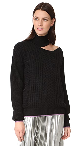 Anna October Cutout Long Sleeve Sweater In Black