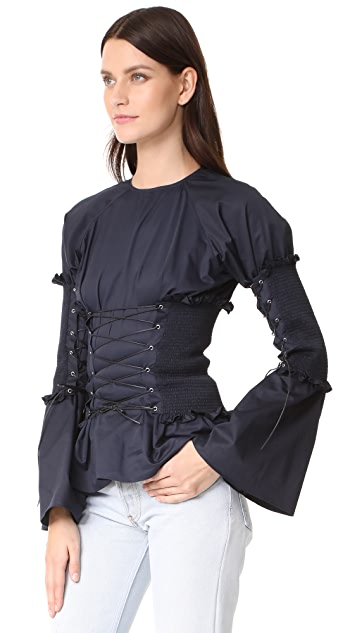 Anna October Ruffled Corset Blouse