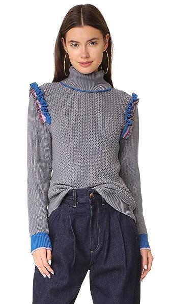 Anna October Ruffle Trim Knit In Grey Multi