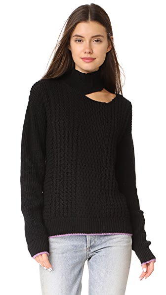 Anna October Slash Shoulder Sweater - Black