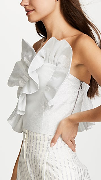 Anna October Silver Top with Ruffles