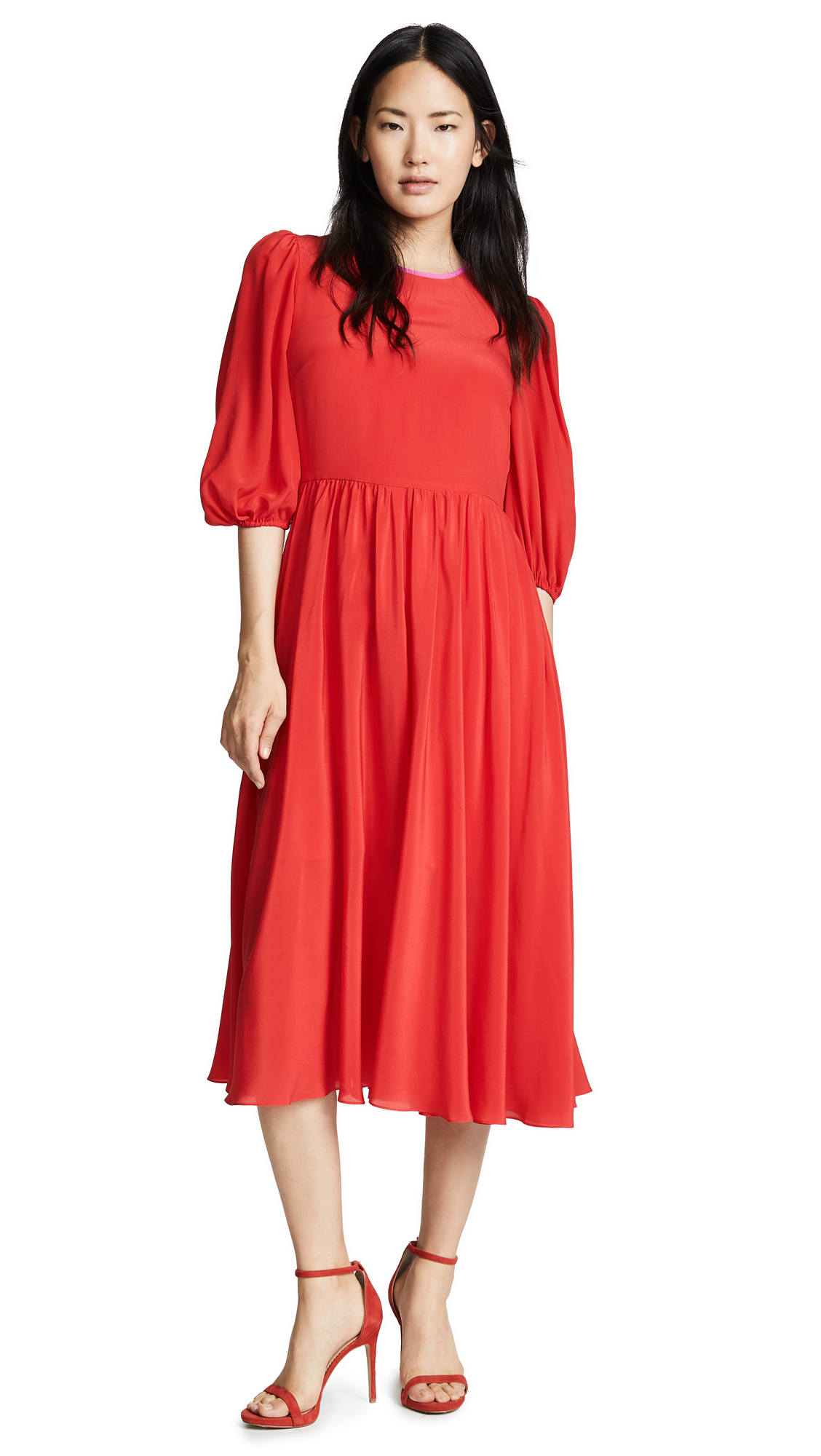 ANNA OCTOBER Puff Sleeve Dress in Red