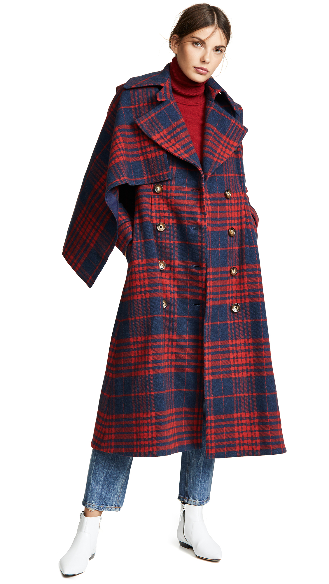 Anna October Plaid Long Coat In Red/Blue