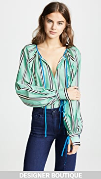 Anna October Striped Tie Neck Blouse