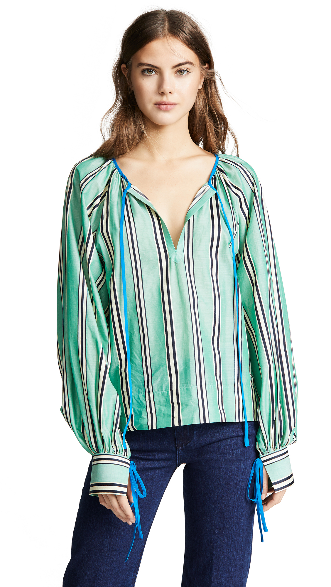 ANNA OCTOBER Striped Tie Neck Blouse in Teal Stripe
