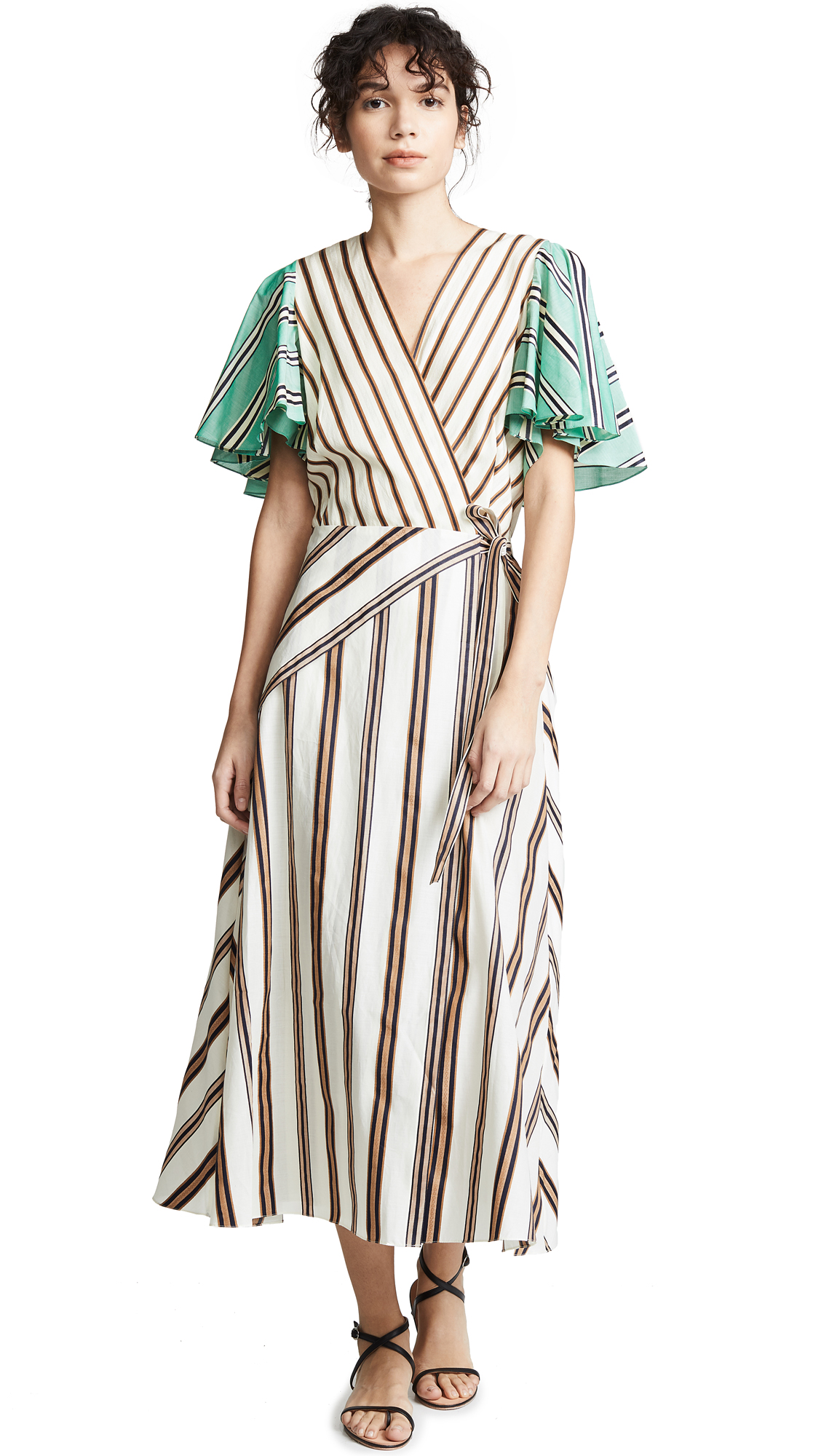 ANNA OCTOBER Mixed Stripe Dress in White/Tan/Teal Stripe