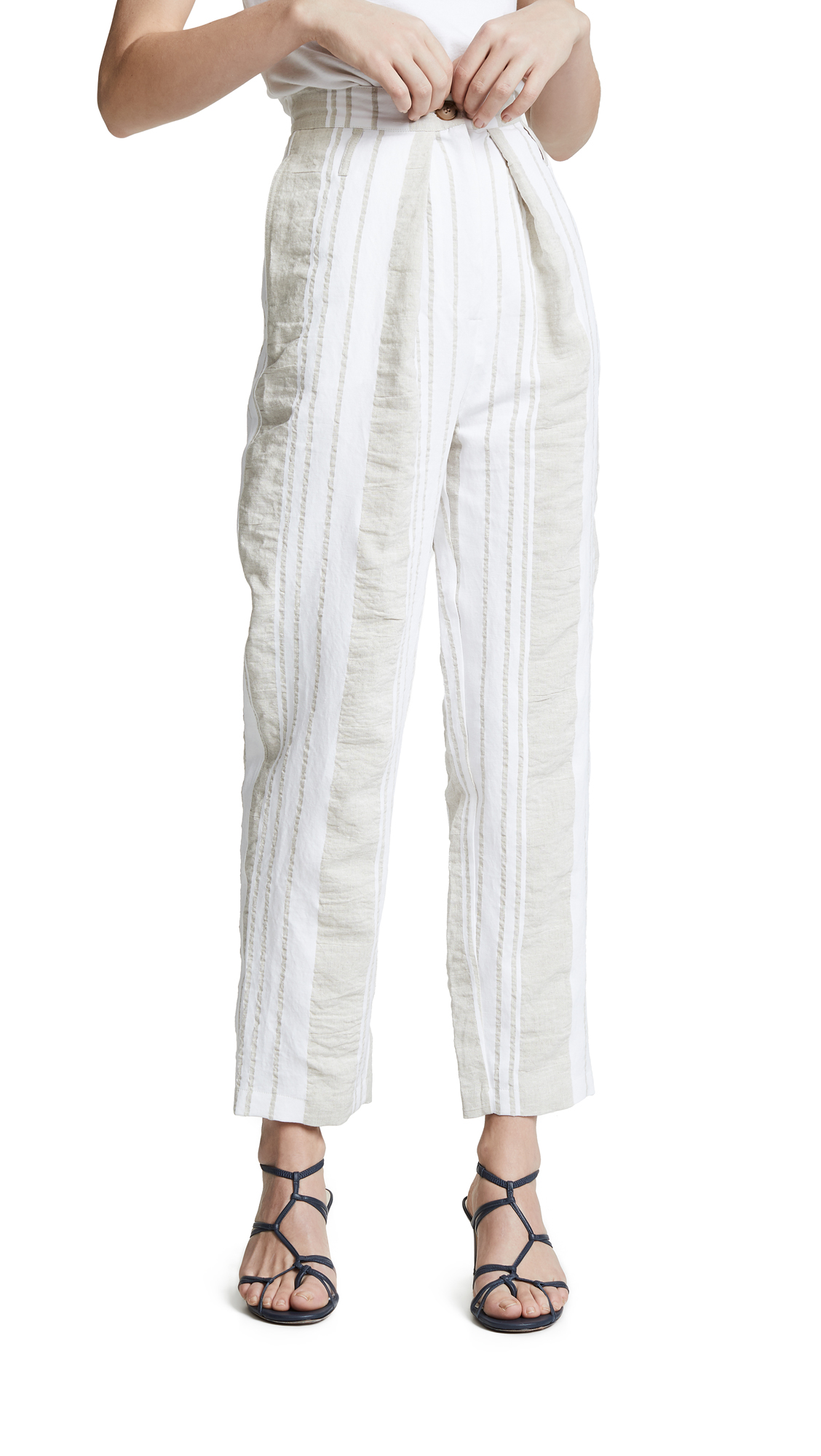 ANNA OCTOBER Soft Stripe Pants in Beige/White