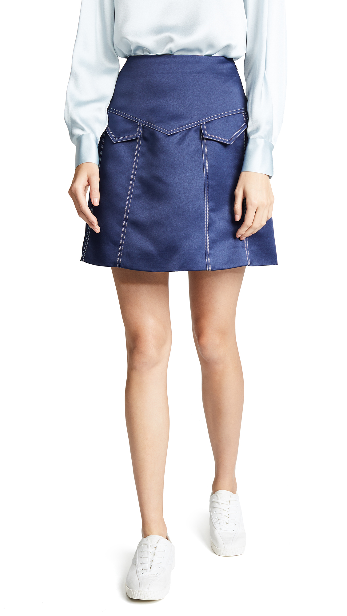 ANNA OCTOBER Contrast Stitch Tailored Skirt in Navy
