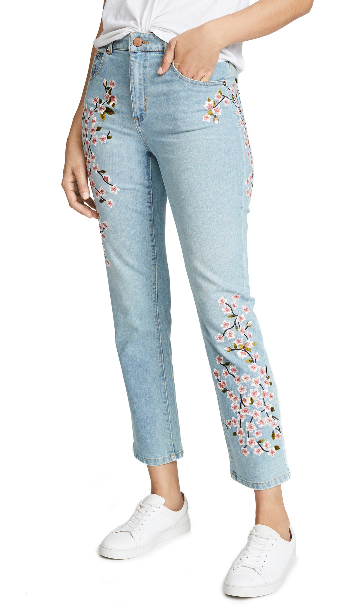 AO. LA by alice + olivia Amazing Embroidered High Rise Jeans