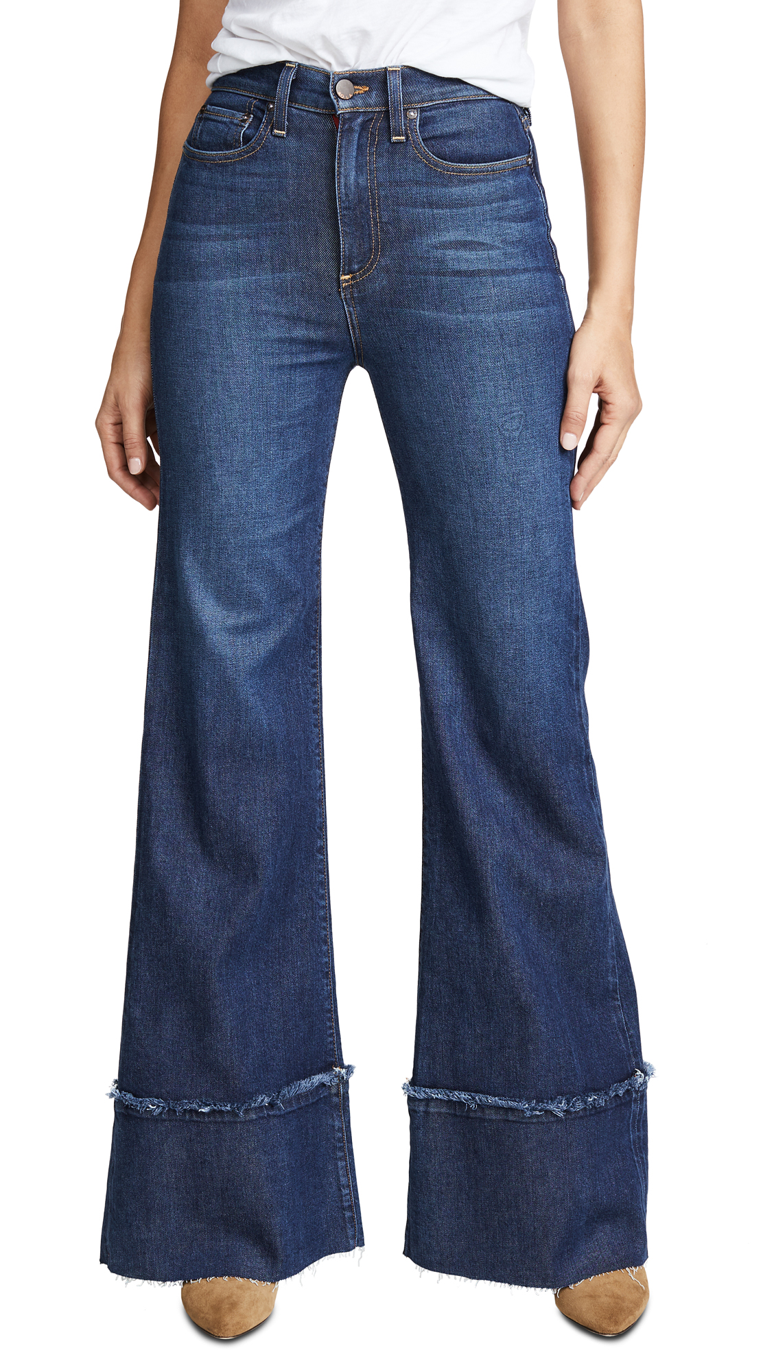 Gorgeous High Rise Trouser Jeans with Exaggerated Hem