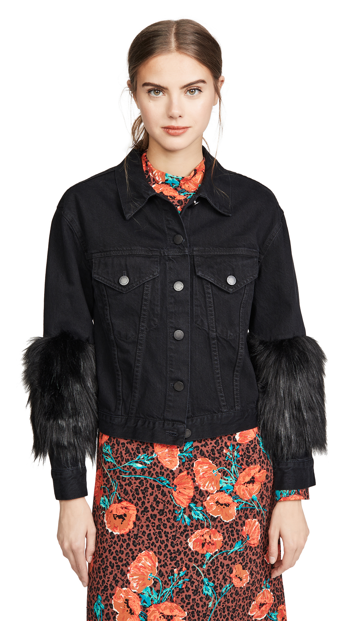ALICE + OLIVIA JEANS Cropped Jacket with Faux Fur Sleeve - Self Love