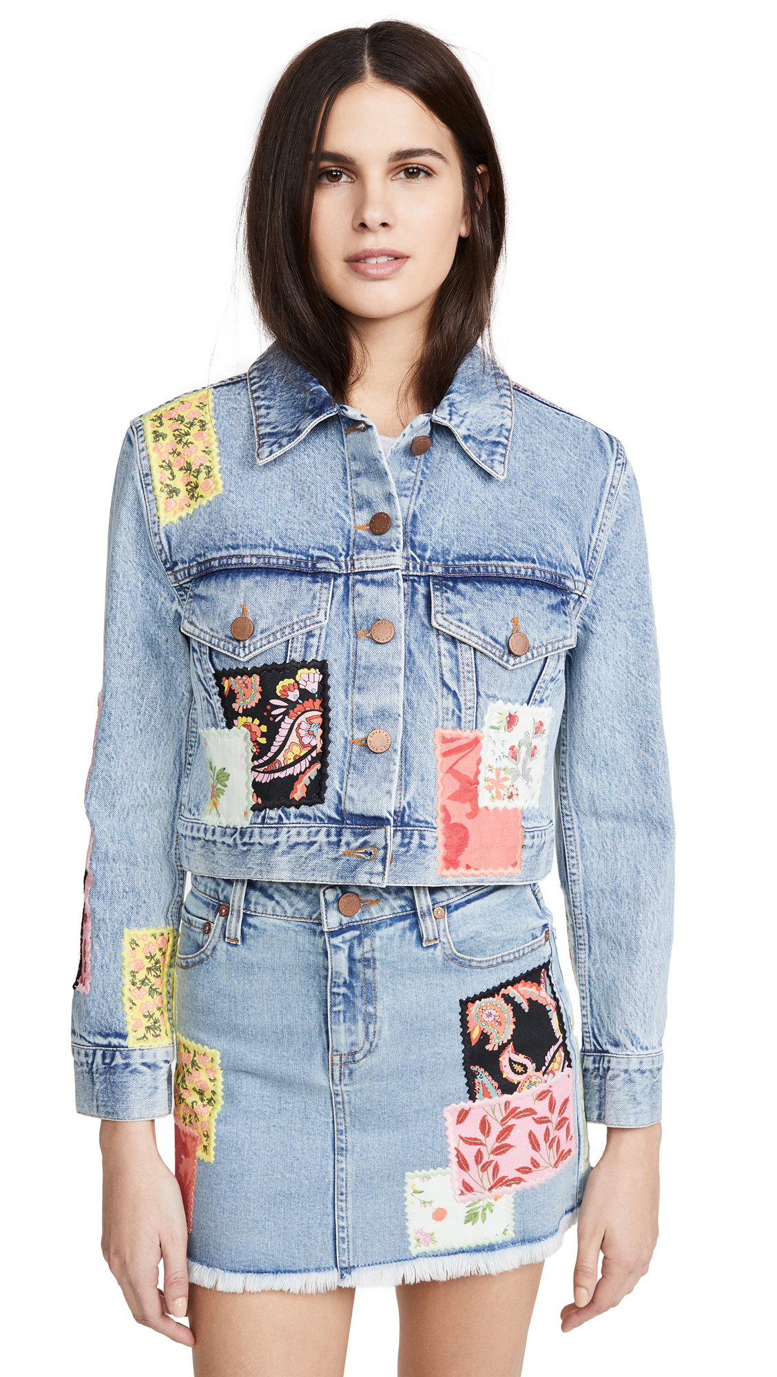 Buy ALICE + OLIVIA JEANS Crop Boxy Jacket with Patchwork online beautiful ALICE + OLIVIA JEANS Clothing, Jackets