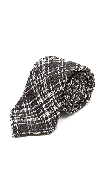 Alexander Olch The Scratch Plaid Printed Lace Tie