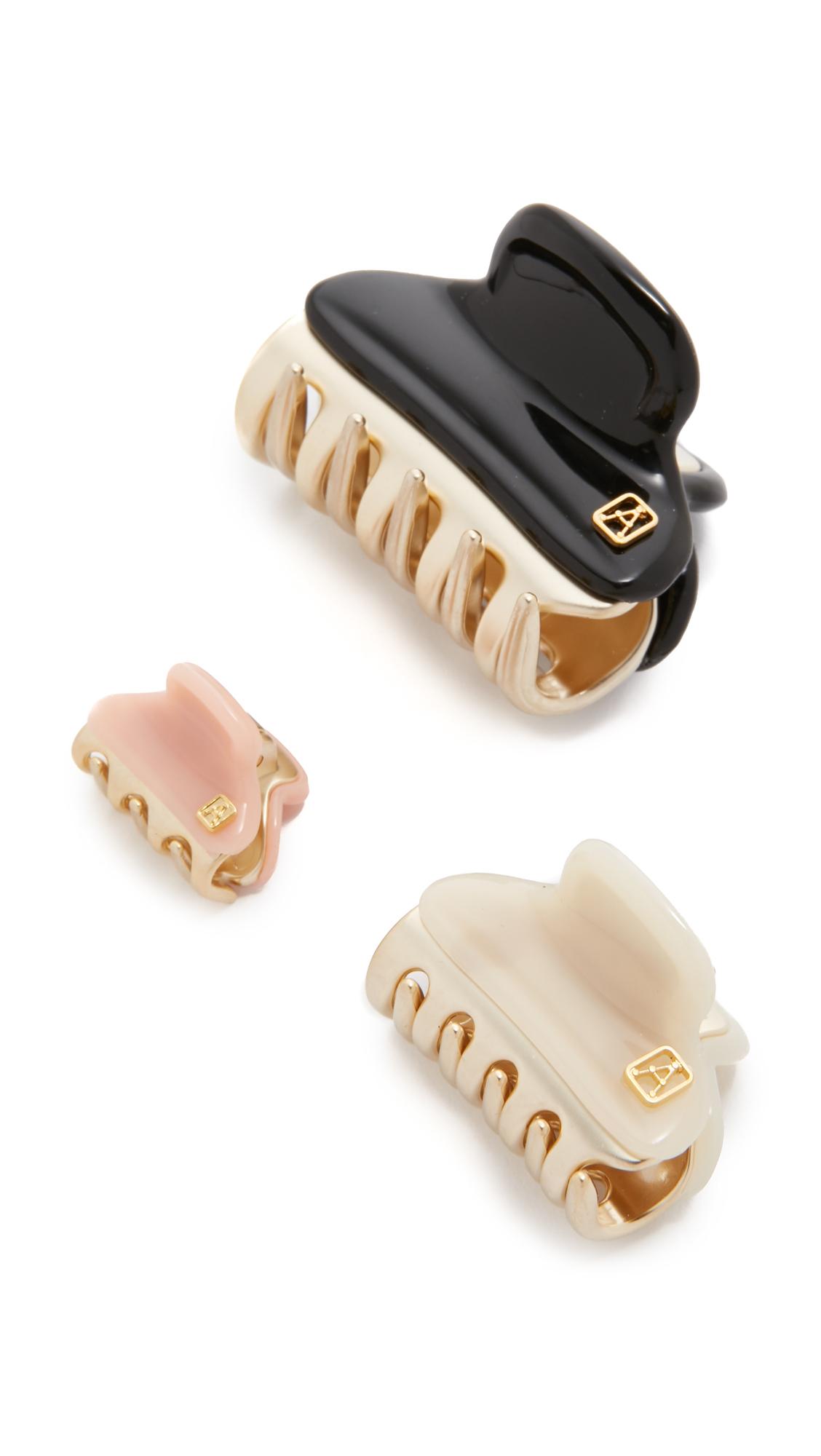 Alexandre De Paris Set Of 3 Hair Clips - Cream/Rose/Black at Shopbop