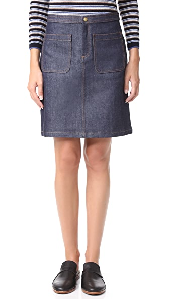 A.P.C. Pocket Skirt - Indigo at Shopbop