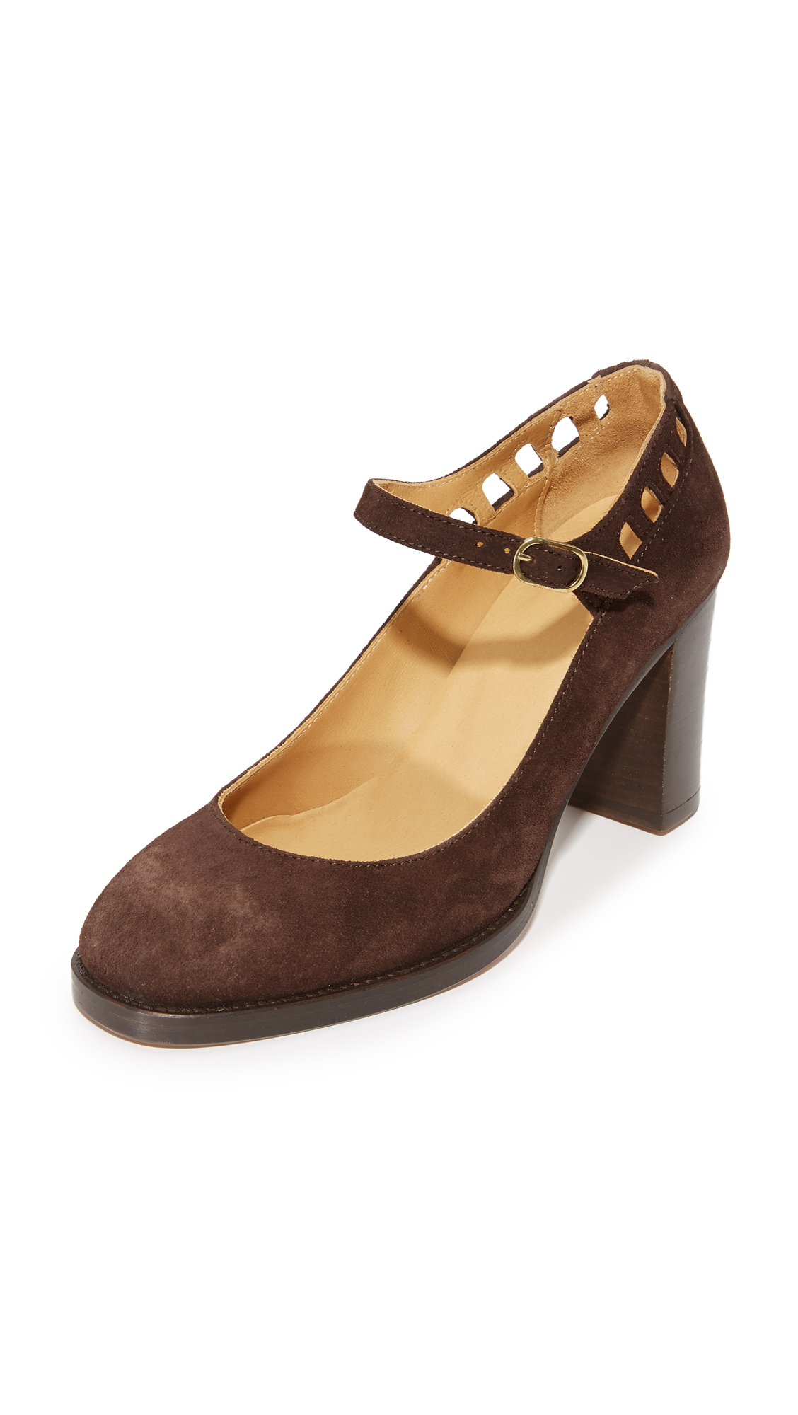 A.P.C. Chaussures Heloise Mary Jane Pumps - Marron Fonce at Shopbop
