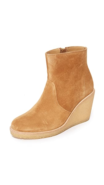 A.P.C. Gaya Wedge Booties - Caramel