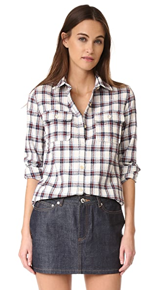 A.P.C. Girl Button Down Shirt In Ecru