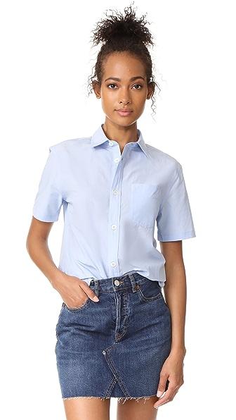 A.P.C. Dana Short Sleeve Button Down Shirt In Bleu Clair