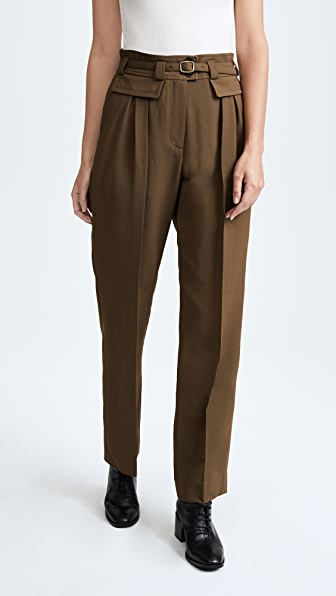 A.P.C. Isa Belted Trousers - Kaki Militaire