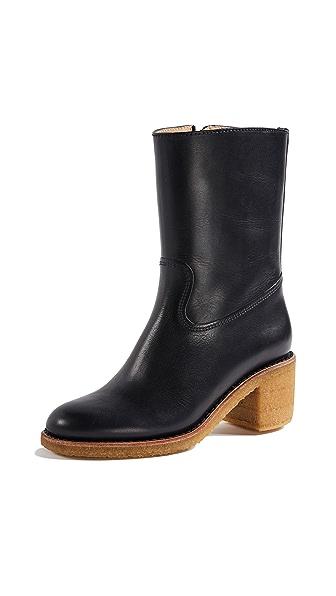 A.P.C. Paz Boots with Block Heel In Dark Navy