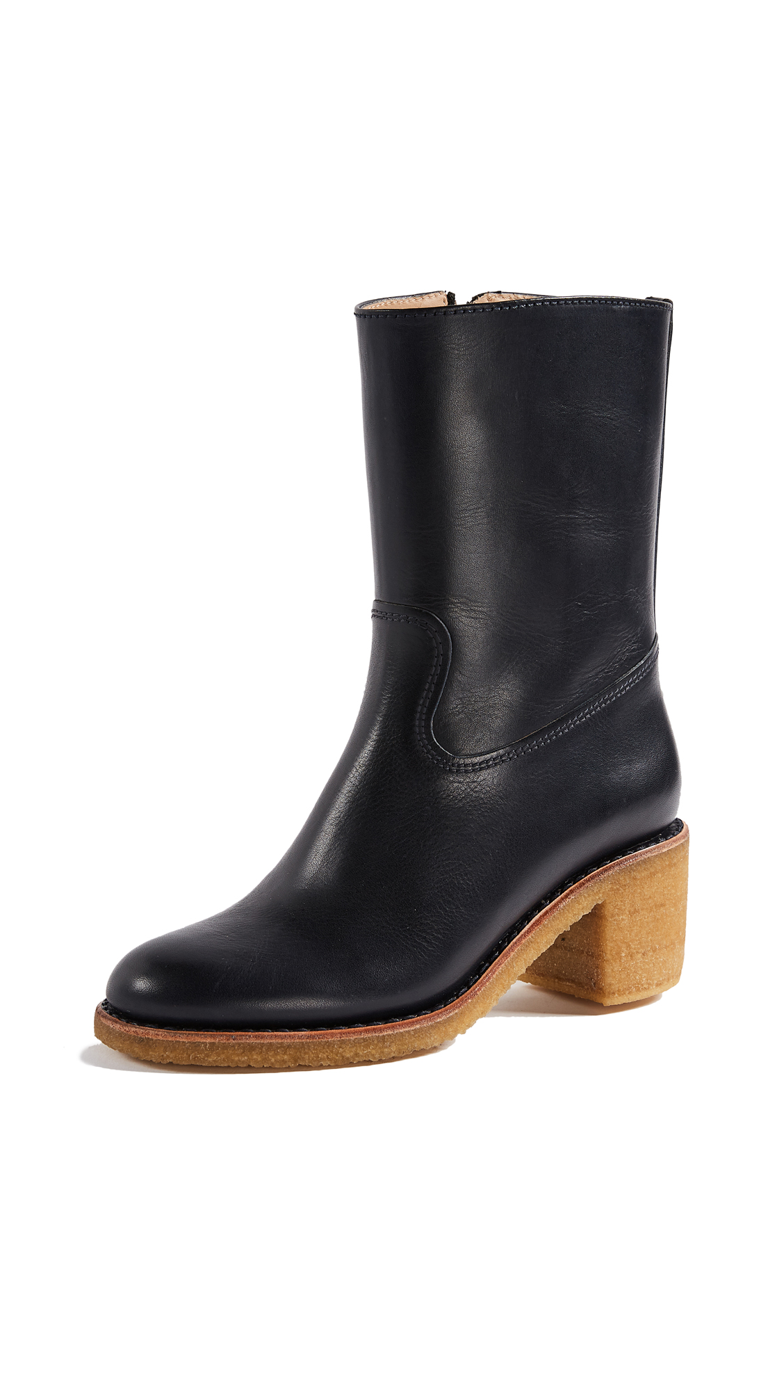 A.P.C. Paz Boots with Block Heel - Dark Navy