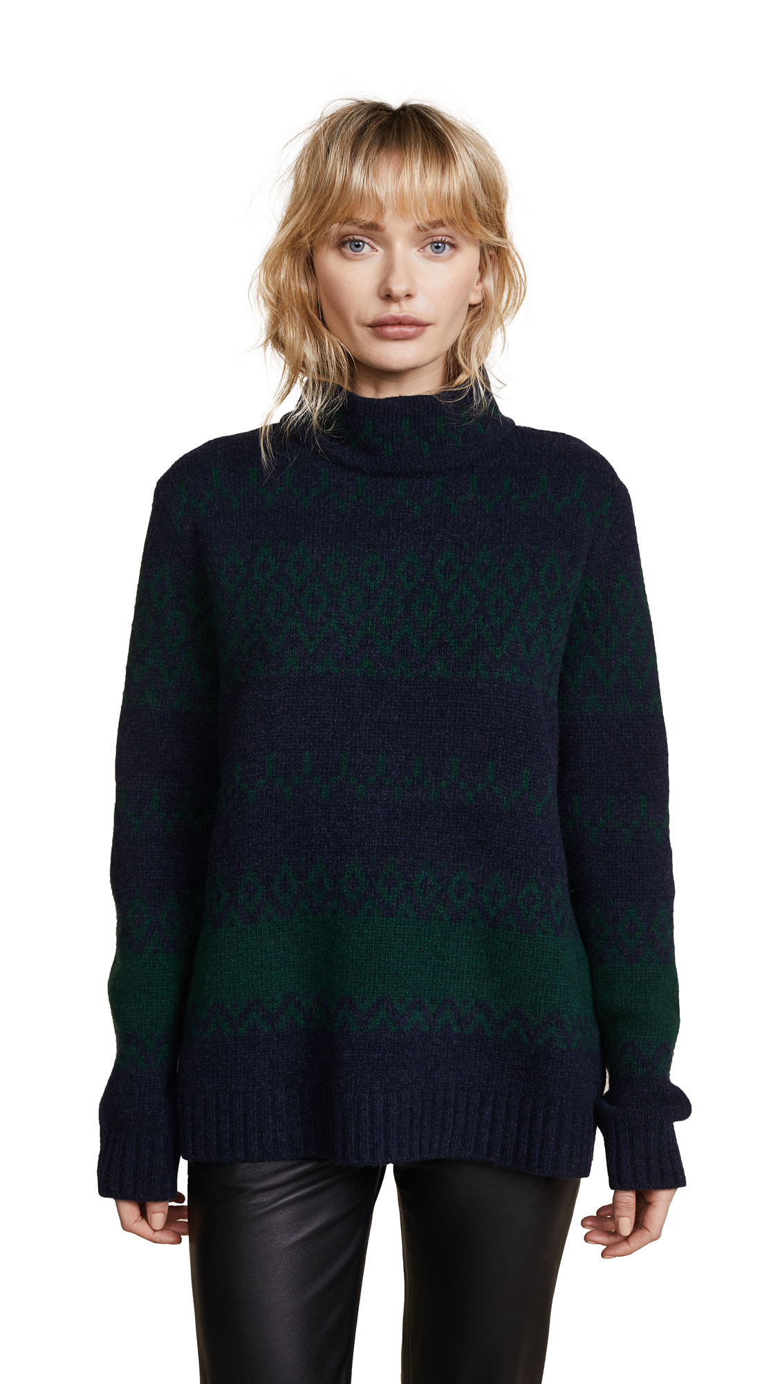 A.P.C. Saskia Intarsia Sweater In Dark Navy