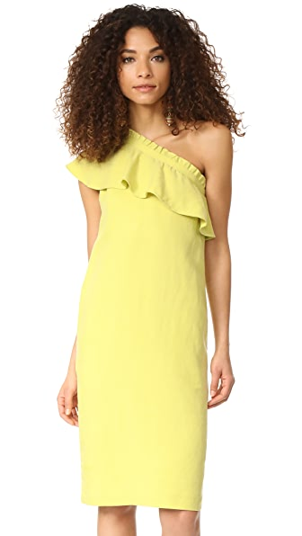 Apiece Apart Reina One Arm Ruffle Dress In Citrus