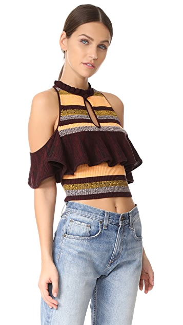 Apiece Apart Knit Cold Shoulder Top