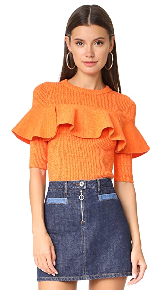 Apiece Apart Cropped Ribbed Ruffle Sweater In Orange Marl