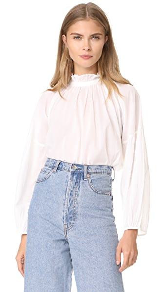 Apiece Apart Victoria Mock Neck Blouse - White